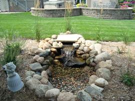 Pondless waterfall, low maintenance water feature.